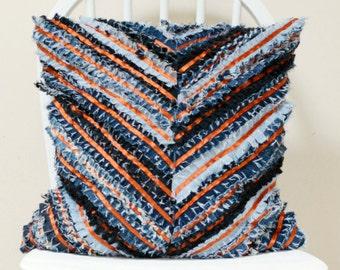 Denim Cushion Cover - Chevron Pillow