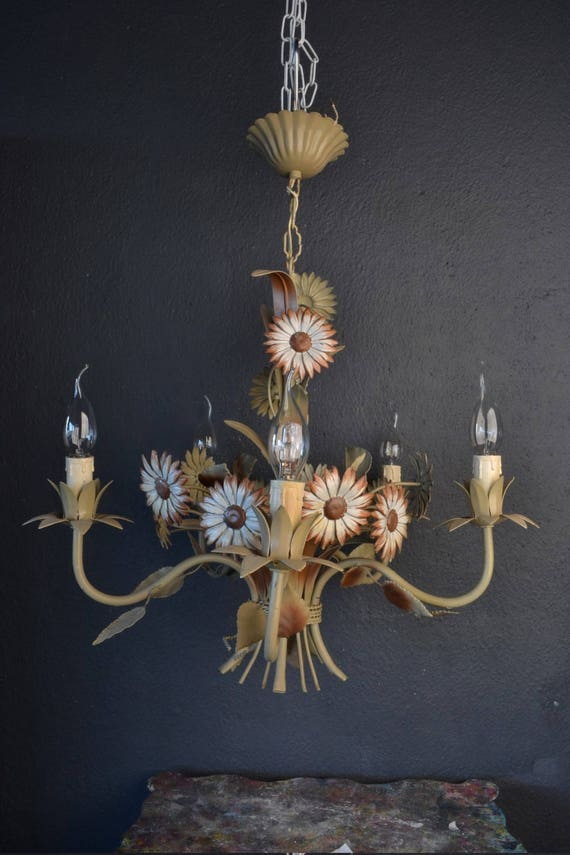 Beautiful painted toleware flower chandelier with brown daisies