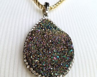 Druzy Stone Statement Necklace - Multi Color Druzy Stone Statement Necklace - Druzy Stone Jewelry - Statement Necklace - Statement Jewelry