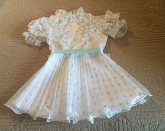 Vintage Toddler Girls Merry Girl Party Dress Easter Outfit White Blue Ruffles Accordion Pleated Skirt Size 4 Clothing