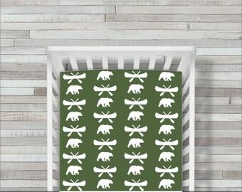 CoolSpool Bear Crib Sheet, Adventure Crib Sheet, Woodland Crib Bedding, Rustic Crib Sheets, Fitted Crib Sheet, Crib Bedding, Green