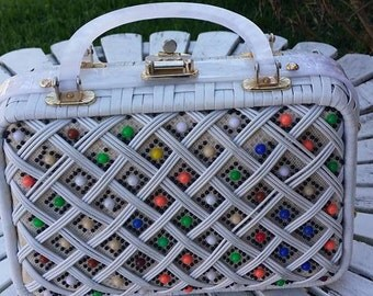 Vintage 50s by Patti's Originals Lucite Wicker and Beads Lucite Handle purse