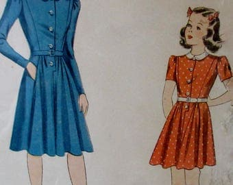 Vintage  1940s Simplicity Girls Fitted  One Piece Dress Pattern 3904  Size 12
