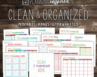 50% OFF Cleaning Checklist, PRINTABLE Cleaning Schedule, Letter Size, 14 Sheets, Instant Download