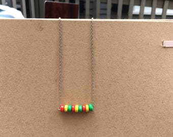 SALE - Red Green and Yellow Wooden Beaded Necklace