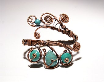 turquoise bracelet wire wrapped jewelry handmade copper jewelry handmade copper bracelet copper jewelry turquoise cuff bracelet