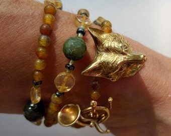 Fox mask bead wrap bracelet or necklace.