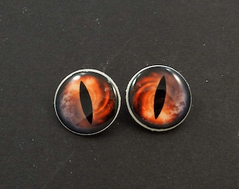 """Dragon Eye Buttons. Set of 2 Brown and Orange Dragon or Lizard Eye Sewing Buttons.  Handmade Buttons. Shank Buttons. 3/4"""" or 20 mm."""