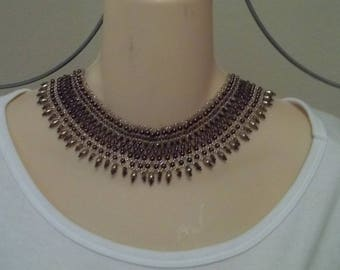 Mocha and beige bib necklace