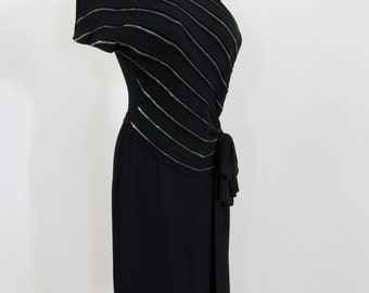 1940s - Early 1950s Glamorous Black Crepe & Sequined Dress