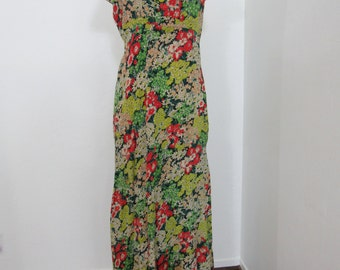 Lovely 1930s Bias-cut, Curve-hugging, Floral Dress with Plunging Scarf Back