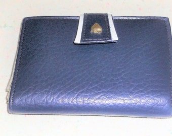 Blue Simulated Leather Vintage Womens Wallet Bill Fold Made in Japan 1960