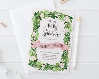 Garden Baby Shower Invitation, Pink Printable Shower Invitation, Greenery Baby Shower Invite, Botanical DIY Invites,Green Leaves and Flowers
