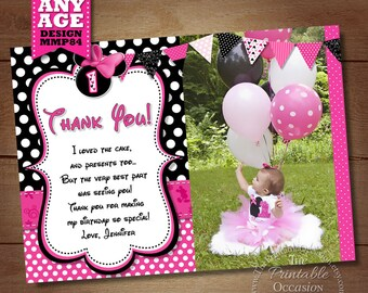 Minnie Mouse THANK YOU CARD with Photo, Minnie Thank You Card Note, Minnie Mouse Printable Thank You matches Birthday Invitation, Pink