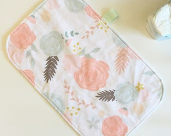Portable changing pad - summer blooms- travel diaper bag - blush peach coral mint - flowers floral - waterproof - girl baby shower gift