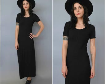 1990s short sleeved black maxi dress