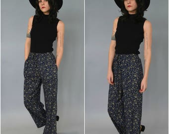 1990s high waisted navy blue floral drawstring pants