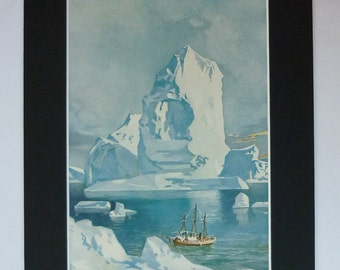 1930s Antique Iceberg Print, Old Polar Wall Art, Available Framed, Ice Art, Cold Antarctic Decor, Arctic Nautical Picture, Sailing Ship Gift