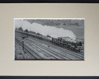 1950s Vintage Steam Engine Print, LMS Royal Scot Class Decor, Available Framed, Train Art, Locomotive Picture, Old British Rail Wall Art