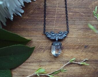 Clear Quartz Point Necklace - Witch Pendulum Pendant- Brass Acorn Necklace - Witchy Necklace