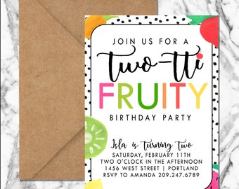 Tutti Fruity birthday Invitation (digital file)