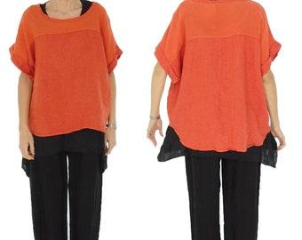 HW400OR ladies blouse linen tunic kastig cut one size size 38 40 42 44 orange