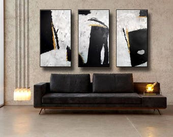 "72x48"" Set of 3 Original Abstract Acrylic Painting Extra Large TRIPTYCH Black Gray White Yellow Mustard Unstretched 717273"