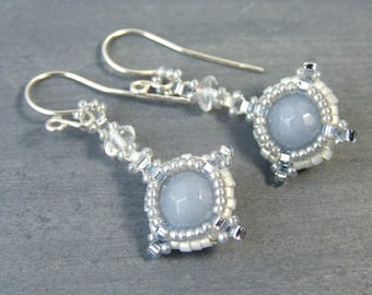 Angelite Earrings, Light Blue Earrings, Small Drop Earrings, Quartz Crystal, Boho Beadwork, Unique Handmade Jewelry Anhydrite Blue and White