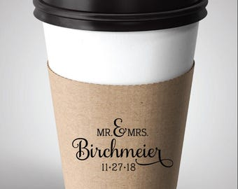 Coffee Sleeve Rubber Stamp, Custom Coffee Sleeve, Wedding Favor Rubber Stamp,  Birchmeier