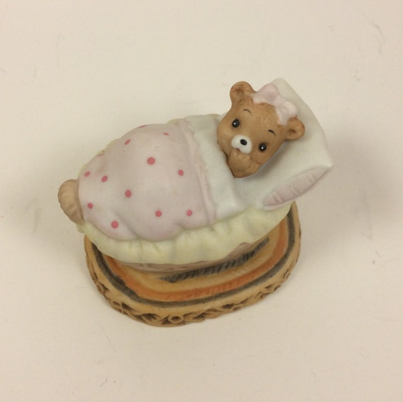 Vintage Lefton Honey Bears figurine, baby bear figurine, Geo Z Lefton bears, 1983 Lefton Honey Bears baby girl bear porcelain, bear collect