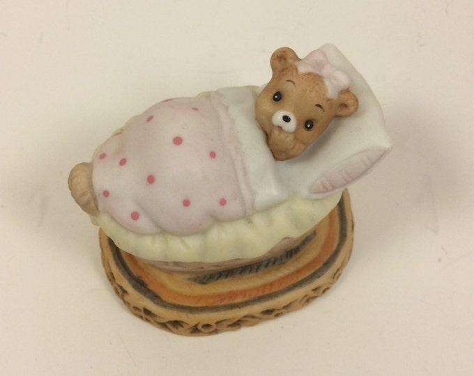 Vintage Lefton Honey Bears figurine, baby bear figurine, Geo Z Lefton bears, 1983 Lefton Honey Bears baby girl bear porcelain, bear collect