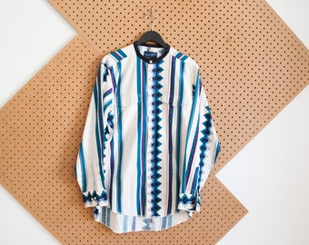 vintage wrangler southwestern shirt mens 90s striped white and teal aztec navajo geometric print button down banded collar madarin collar