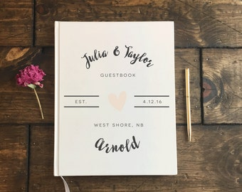 Wedding Guest Book. Modern Blush Heart Wedding Book. Custom Wedding Guestbook. Wedding Journal. Wedding gift Keepsake. Wedding Album
