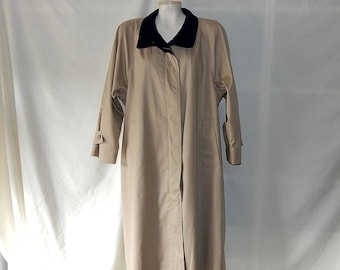 Sz 14P 14 London Fog Trench Coat - Midi -Raincoat - Petite - Khaki Beige w Navy Wool Collar - Size L XL 80s Vintage - Union Made in USA