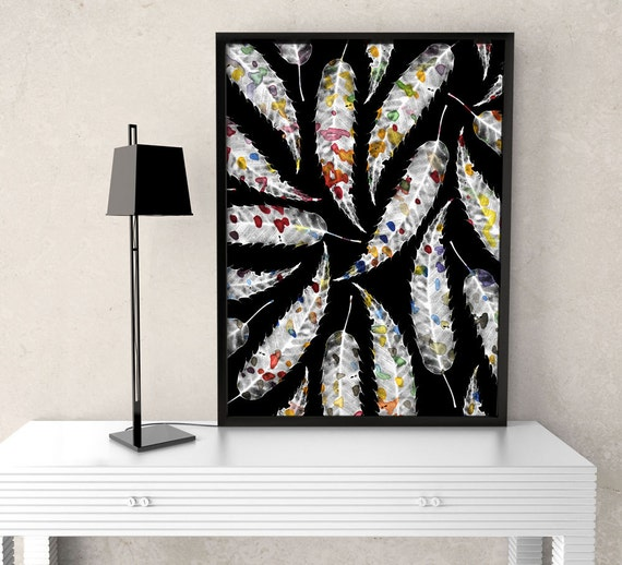 Colorful Black and White Leaves - Flower Art Print, floral & botanical photo, nature inspired, interior design, decor, wildflower, garden