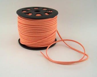 Coral Orange Faux Suede Cord 20 Feet USA Seller
