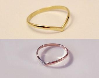 14k Rose gold V ring,14k Yellow gold V ring,14k V ring,14k chevron ring,14k engagement ring,14k white gold v ring, 14k half round ring