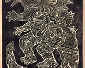 King of the Monsters Block Print