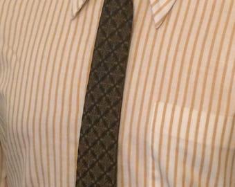 """Vintage MENS """"Erhart"""" by Bronzini black & brown skinny tie, circa 50-60s"""