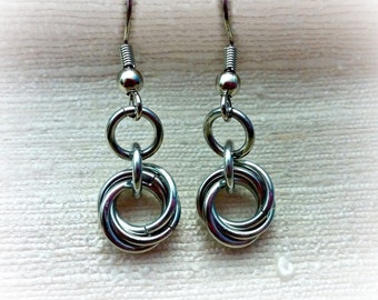 Silver Chainmaille Earrings, Mobius Ball Earrings, Knot Earrings, Nest Earrings, Simple Earrings, Small Earrings, Ring, ELEMENTS Collection