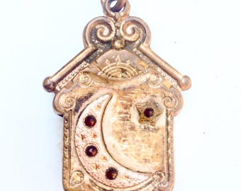 Antique Crescent Moon Fob. Agate. Stars. paste stones. Victorian gold fill. Ornate. Pocket watch. Jewelry. Parts. Supplies LA