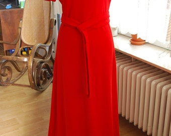 Vintage 60's/70's Bright Red Full Length Dress