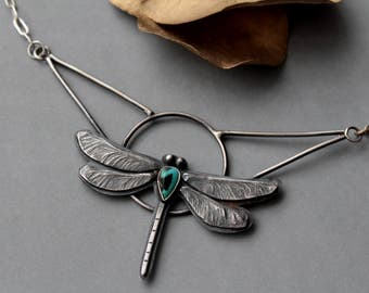 Dragonfly necklace with turquoise handmade sterling silver