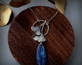 Ginkgo Leaves Handmade Sterling Silver and Kyanite Necklace