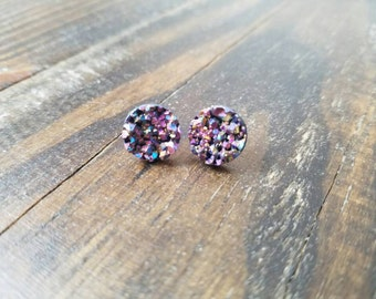 Purple Speckled Faux Druzy Stud Earrings - 12mm
