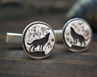 Silver Full Moon Wolf Cufflinks - Gift for Him - Sterling Silver
