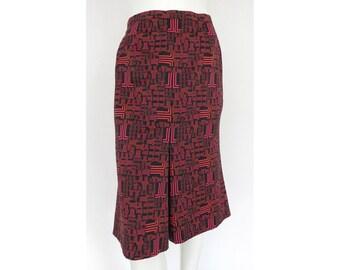 VTG LANVIN LOGO Print 60s 70s Style Midi Skirt - Mint Condition !