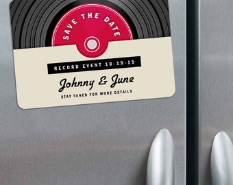 Record - Magnet - Save the Date + Envelopes