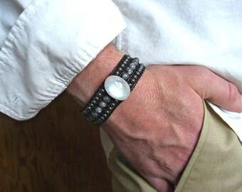 Rainbow Moonstone, Larvikite,Hematite 3 Rows Black Leather Beaded Cuff Men's Bracelet, Men's Jewelry