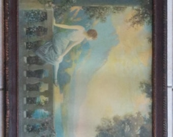 Vintage R Atkinson Fox Lithograph Picture Print Sunset Dreams Woman Garden 1920 1920s original frame Deco Bedroom powder room hanging art